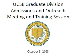 UCSB Graduate Division PowerPoint PPT Presentation