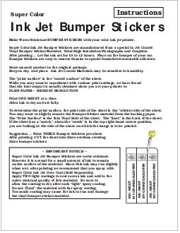 Make Water Resistant BUMPER STICKERS with your color ink jet printer