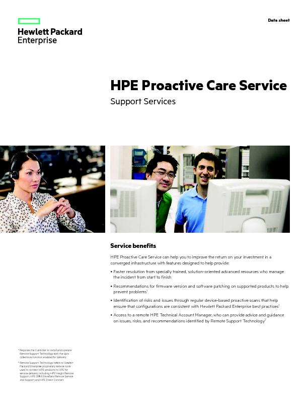 Service benefitsHPE Proactive Care Service can help you to improve the