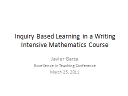 Inquiry Based Learning in a Writing Intensive Mathematics C PowerPoint PPT Presentation