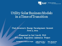 Utility Solar Business Models