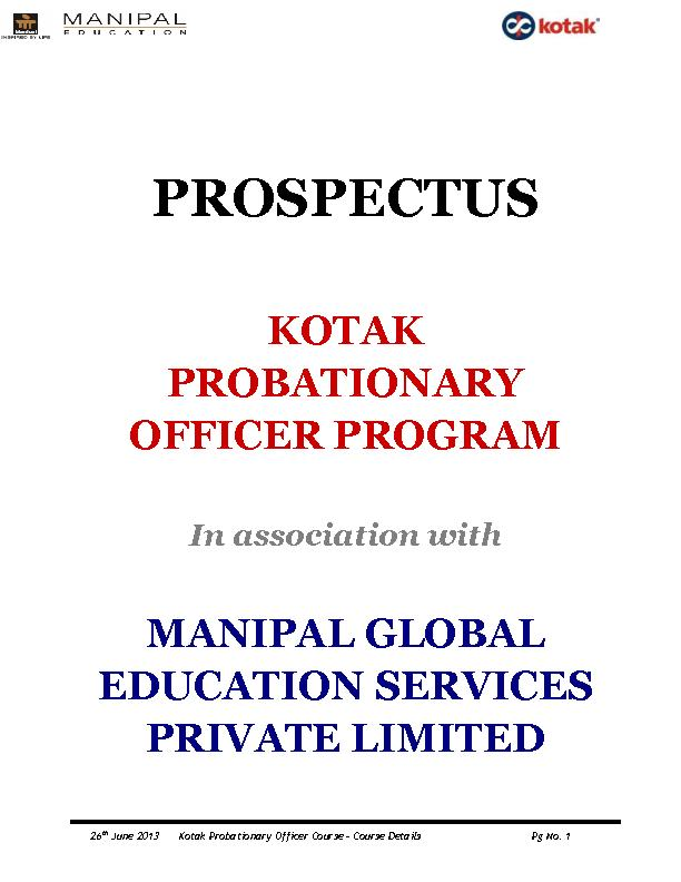 Kotak Probationary Officer