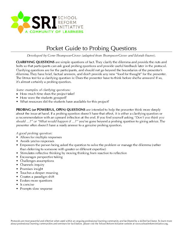 Pocket Guide to Probing Questions