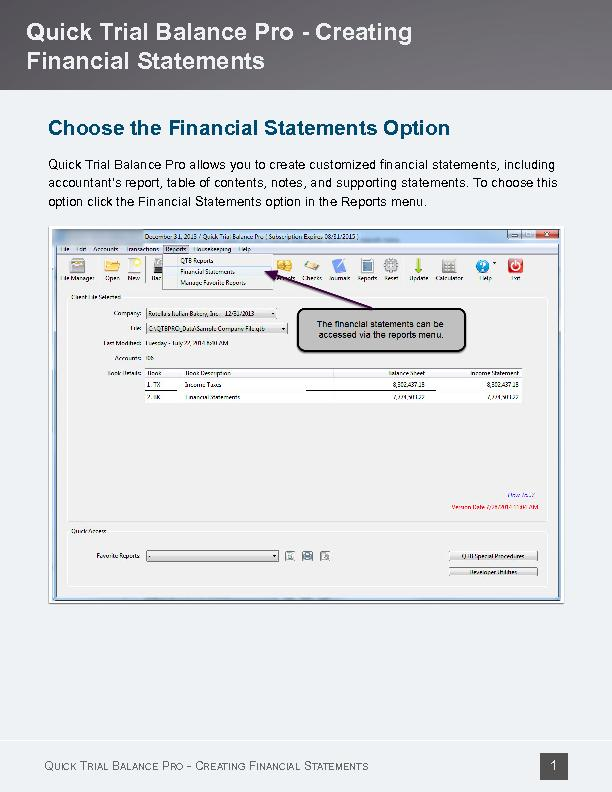 Choose the Financial Statements Option
