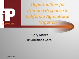 Opportunities for Demand Response in California Agricultura