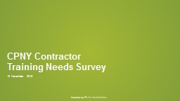 CPNY Contractor Training Needs Survey