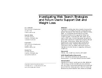 Investigating Web Search Strategies and Forum Use to Support Diet and Weight Los PDF document - DocSlides