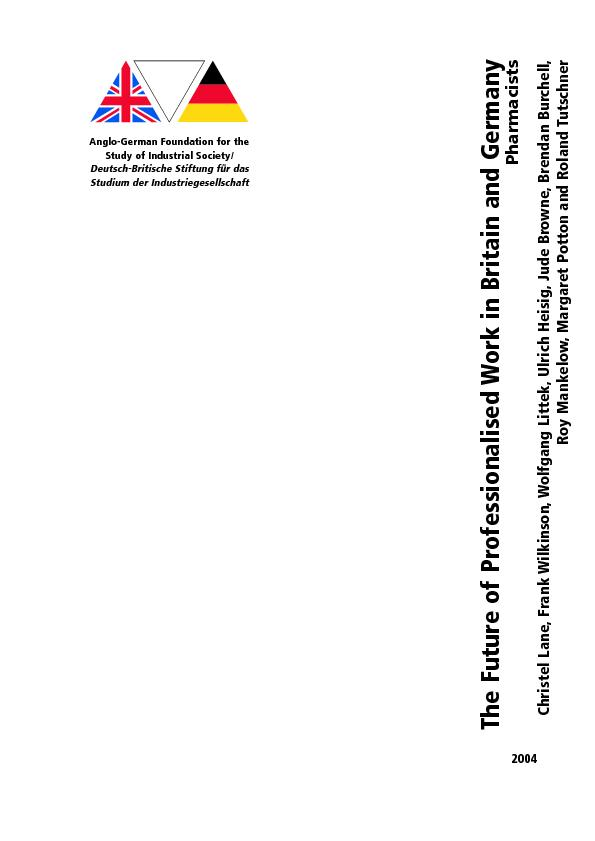 The Future of Professionalised Work in Britain and GermanyChristel Lan PDF document - DocSlides