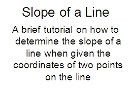 Slope of a Line PowerPoint PPT Presentation