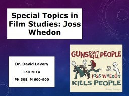 Special Topics in Film Studies: Joss