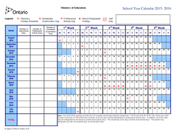 Queens Printer for Ontario  Ministry of Education School Year Calendar   gend Statutory Scheduled Professional Board Designated Half Holiday Schedule Examination Day Activity Day Holi day Day Month N