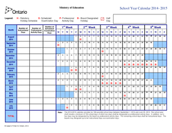 Queens Printer for Ontario  Ministry of Education School Year Calendar   gend Statutory Scheduled Professional Board Designated Half Holiday Schedule Examination Day Activity Day Holiday Day Month Nu