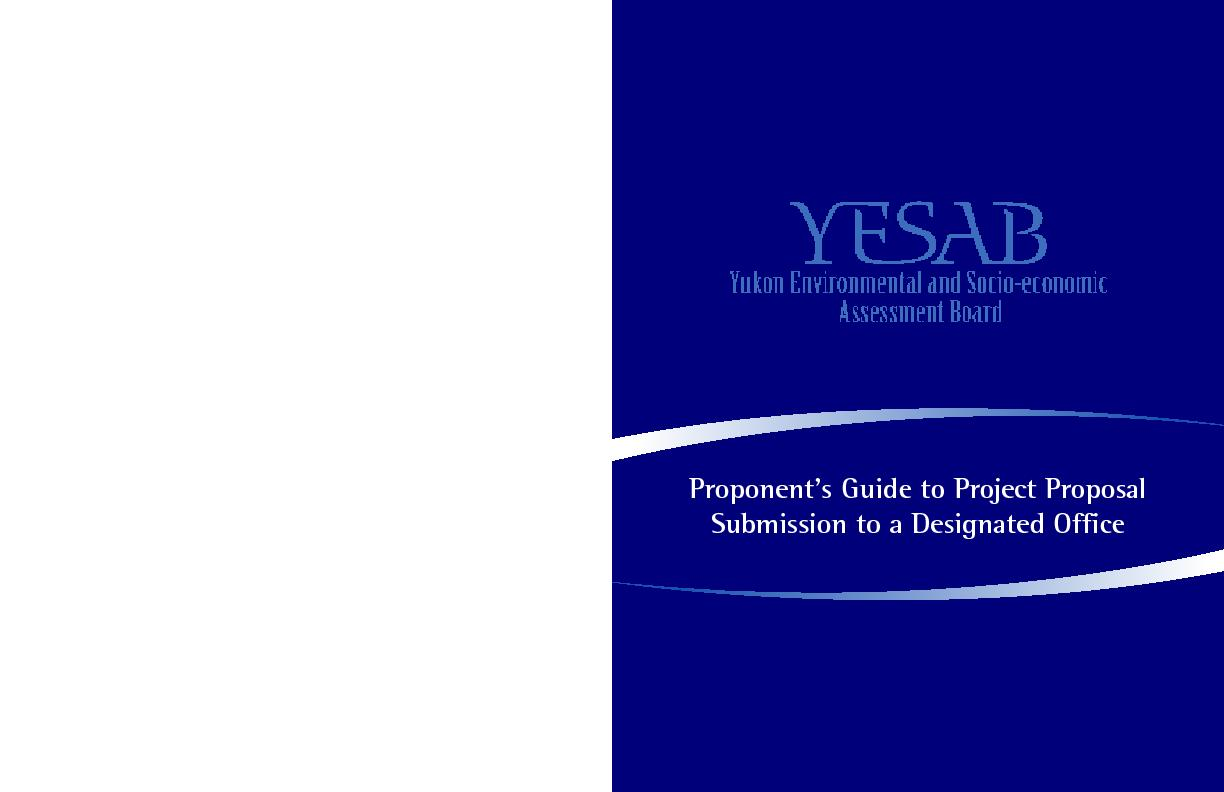 Proponent's Guide to Project Proposal