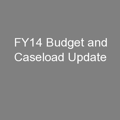 FY14 Budget and Caseload Update