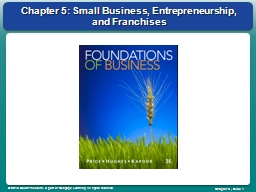 Chapter 5: Small Business, Entrepreneurship, and Franchises PowerPoint PPT Presentation