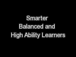 Smarter Balanced and High Ability Learners