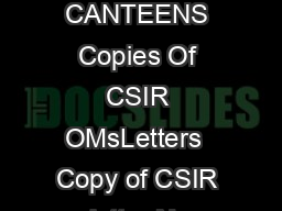 Section  DEPARTMENTAL CANTEENS Copies Of CSIR OMsLetters  Copy of CSIR letter No