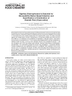 Capillary Electrophoresis Is Essential for Microsatellite Marker Based Detection and Quantication of Adulteration of Basmati Rice  Oryza sativa AKSHMINARAYANA R