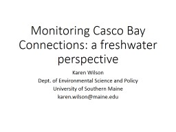 Monitoring Casco Bay Connections: a