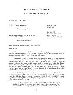 STATE OF MICHIGAN COURT OF APPEALS In the Matter of C
