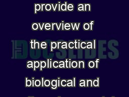 Captivating Conservation Overview Purpose  to provide an overview of the practical application of biological and earthenvironmental sciences within a Zoo context
