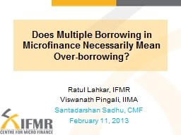 Does Multiple Borrowing in Microfinance Necessarily Mean PowerPoint PPT Presentation