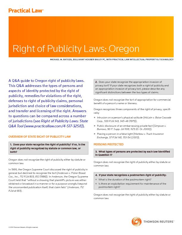 A Q&A guide to Oregon right of publicity laws.