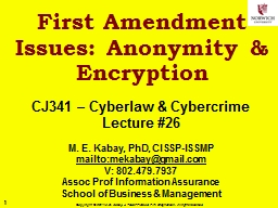 First Amendment Issues: Anonymity & Encryption PowerPoint PPT Presentation