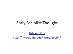 Early Socialist Thought