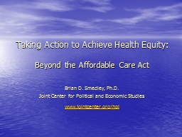 Taking Action to Achieve Health Equity: