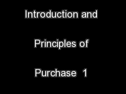 Chapter 1  Introduction and Principles of Purchase  1 Introduction ...
