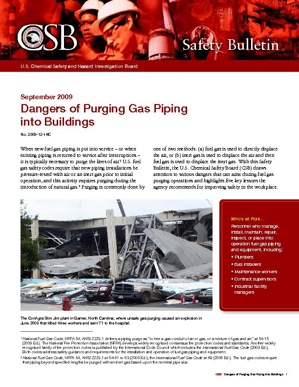 Dangers of Purging Gas Piping into Buildings