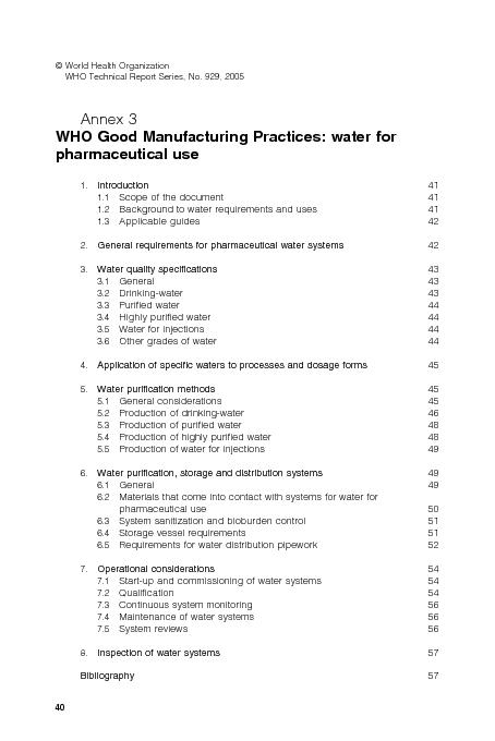 Scope of the document41Background to water requirements and uses41Appl