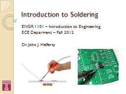 Introduction to Soldering PowerPoint PPT Presentation