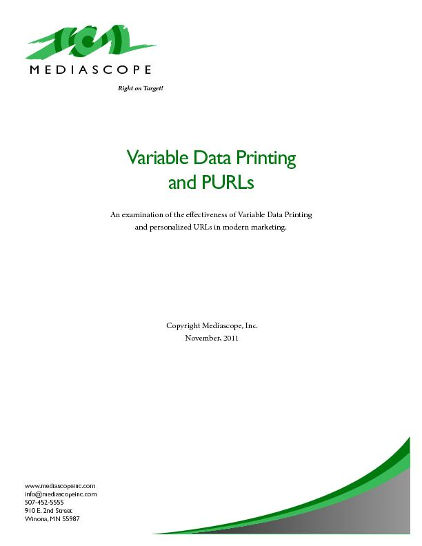 Variable Data Printing An examination of the eectiveness of Variable