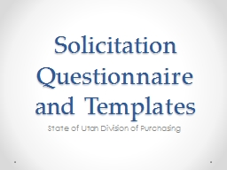 Solicitation Questionnaire and Templates