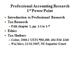 Professional Accounting Research