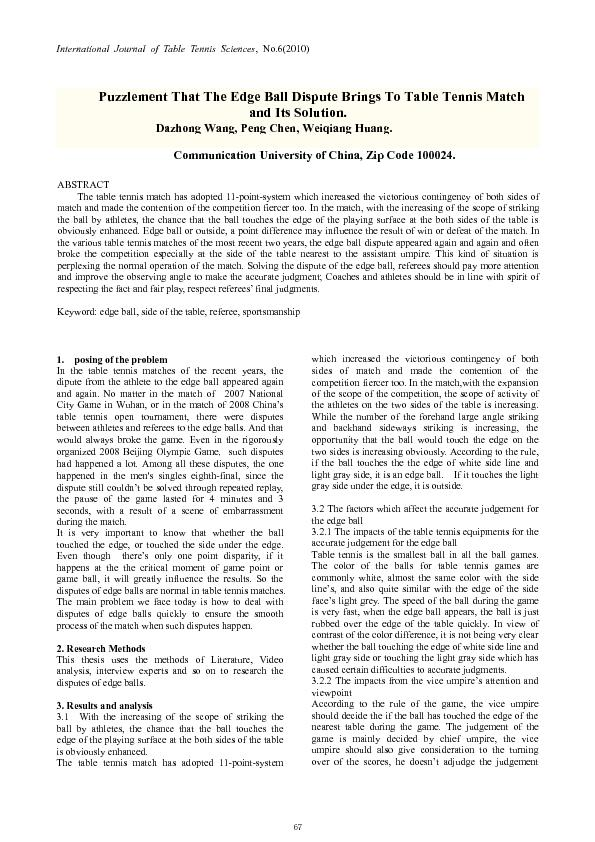 International Journal of Table Tennis Sciences, No.6(2010)