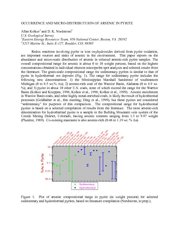 OCCURRENCE AND MICRO-DISTRIBUTUION OF ARSENIC IN PYRITE Allan Kolker32