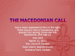 THE MACEDONIAN CALL PowerPoint PPT Presentation