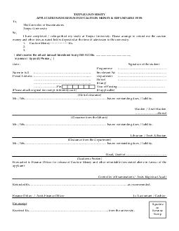 TEZPUR UNIVERSITY APPLICATION FOR REFUND OF CAUTION MONEY  REFUNDABL E FEES To The Controller of Examinations Tezpur University Sir I have completed  relinquished my study at Tezpur University PowerPoint PPT Presentation