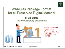WARC as Package Format