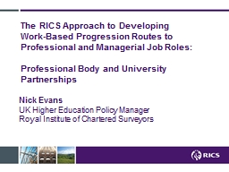 The RICS Approach to Developing