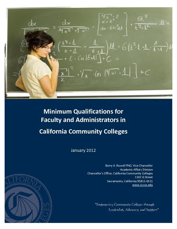 Minimum Qualifications for Faculty and