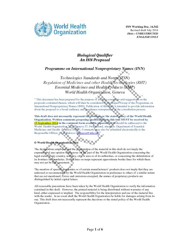 INN Working Doc. 14.342 Revised draft July 2014 Distr.: UNRESTRICTED E