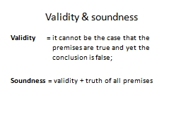 Validity & soundness