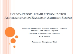 Sound-Proof: Usable Two-Factor Authentication Based on Ambi