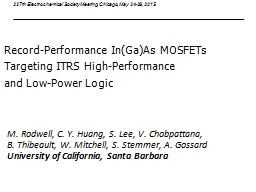 Record-Performance In(Ga)As MOSFETs PowerPoint PPT Presentation