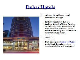 Dubai Hotels : Cheap, Budget Hotel Booking, 5 Star, Luxury Hotels in UAE PowerPoint PPT Presentation