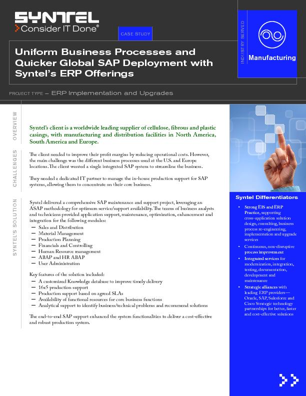 – ERP Implementation and Upgrades